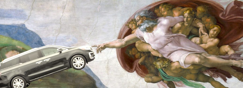 Creation of Adam with 2019 Kia Sedona in place of Adam