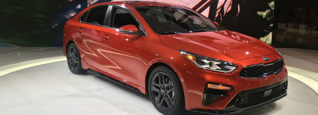 glistening red 2019 kia forte from chicago auto show 2018