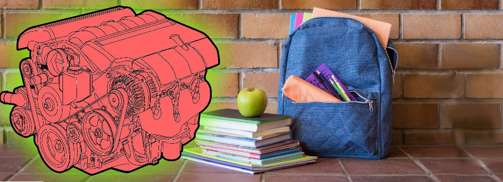 blue backpack for back to school blog series with engine