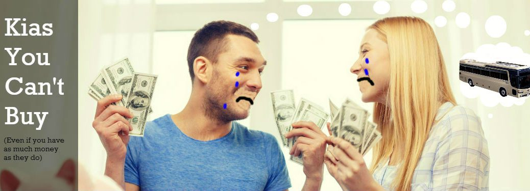 couple crying over money with Kia Granbird in their thought bubble