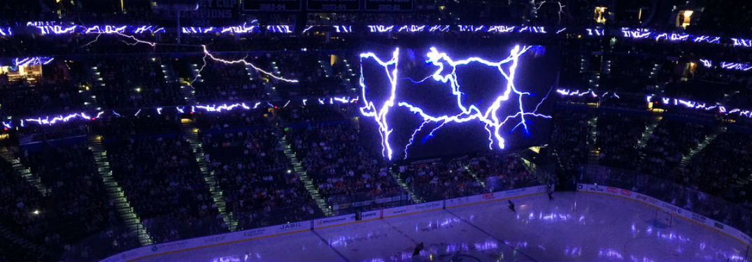 Lightning stadium amalie arena with electric-looking graphics