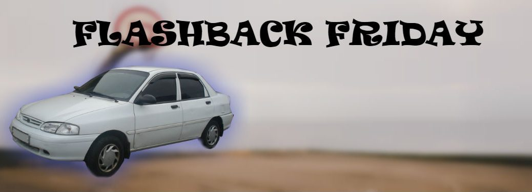 flashback friday graphic with kia avella in front of a beach scene