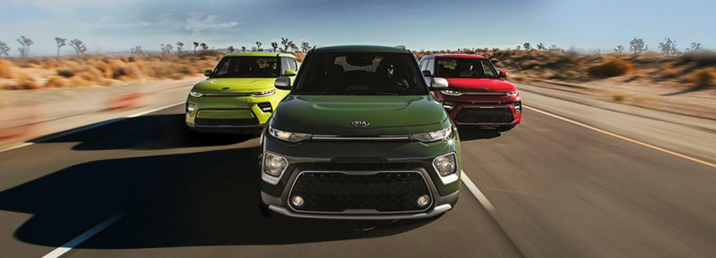 lineup of 2020 kia soul models including ev, x line and gt line
