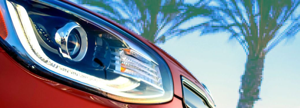 Vaporwave photo of 2019 Kia Soul headlight with palm trees in the background