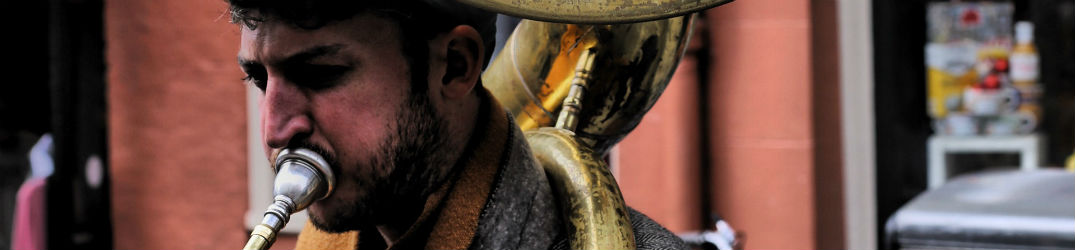 person playing a sousaphone