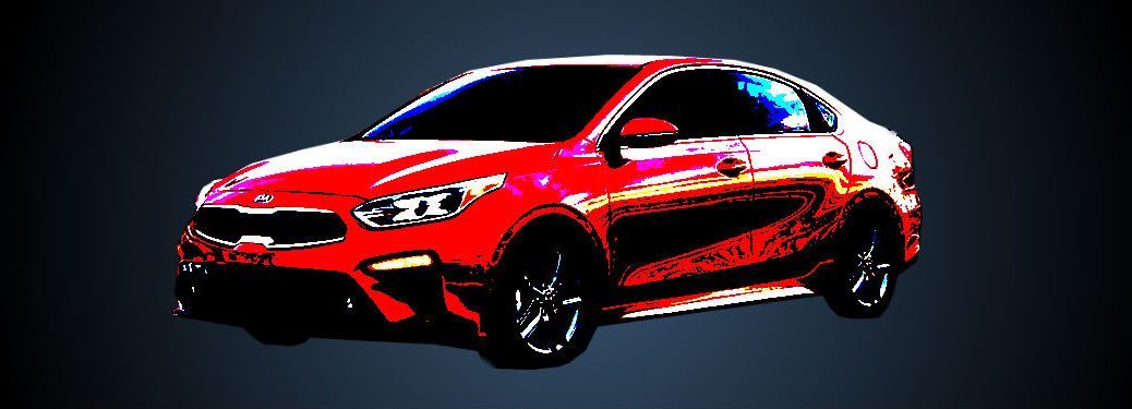 red arty photo of Kia Forte on blue black gradient background