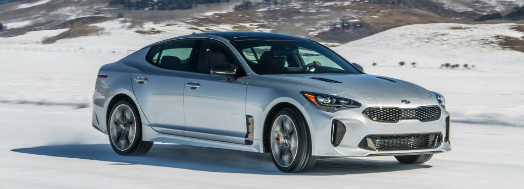 silver 2019 kia stinger gt awd on ice