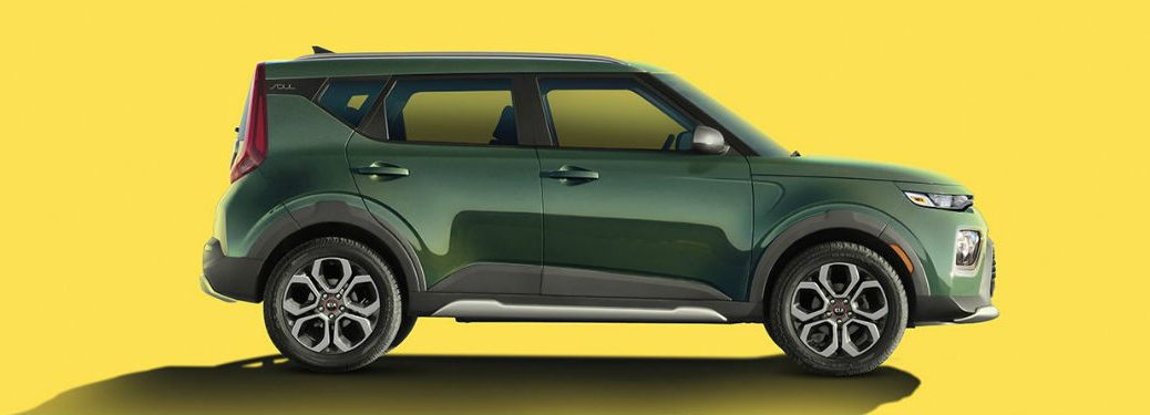 2020 kia soul x line in undercover green on bright green background