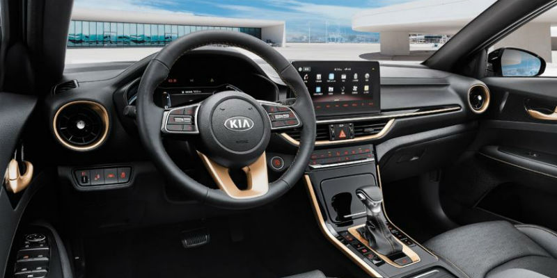 chinese kia k3 interior with gold accents