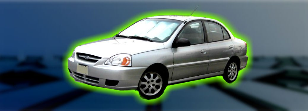 first generation kia rio on abstract background