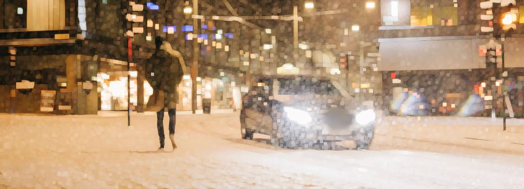 car driving on snowy road