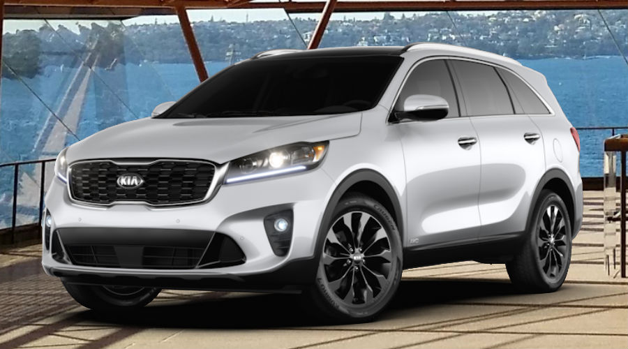 2020 Kia Sorento against operatic background in sparkling silver