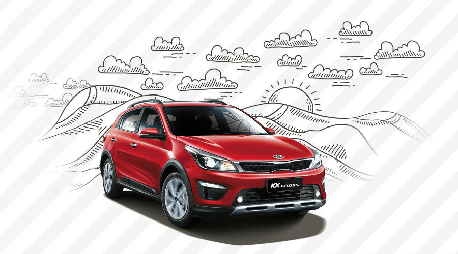 red kia kx cross over drawing of the outdoors
