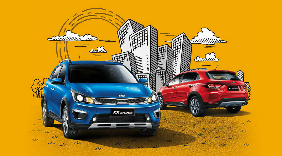 red and blue kia kx cross over drawing of city