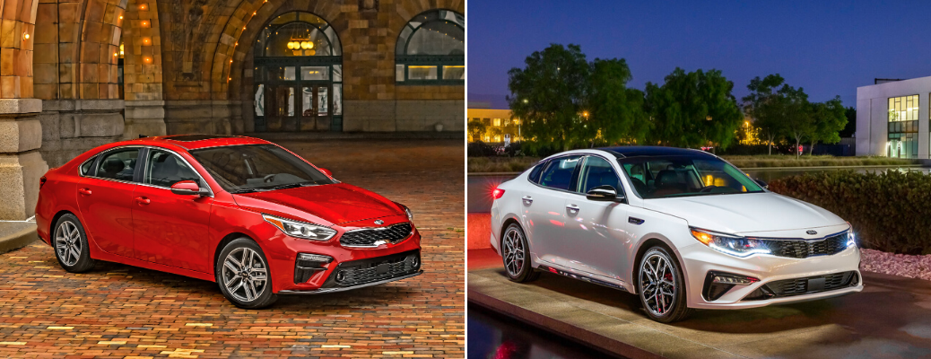 Red 2020 Kia Forte and white 2020 Kia Optima