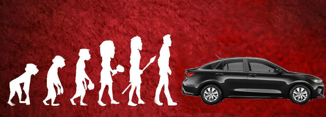 Theory of Evolution diagram with 2020 Kia Rio over red background
