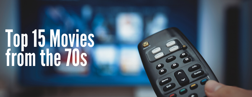 """TV remote pointed at TV with """"Top 15 Movies from the 70s"""" white text"""