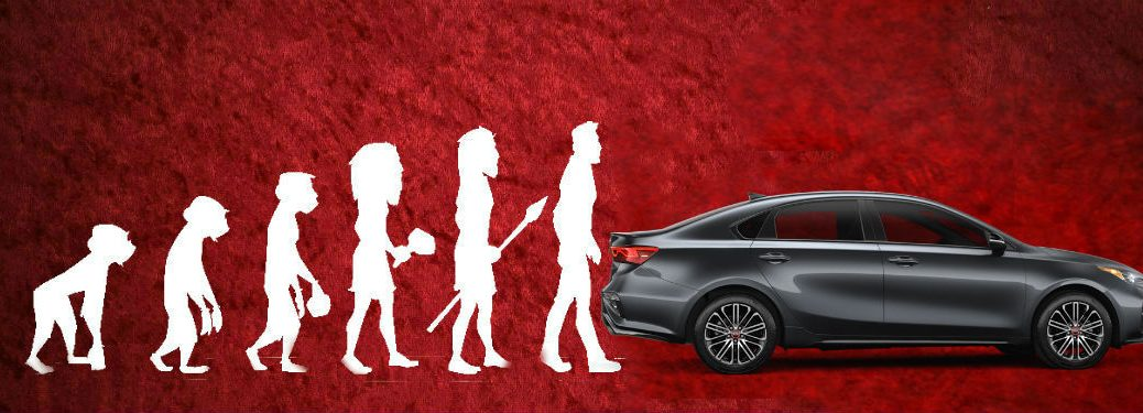 Evolution of Man graphic with 2020 Kia Forte