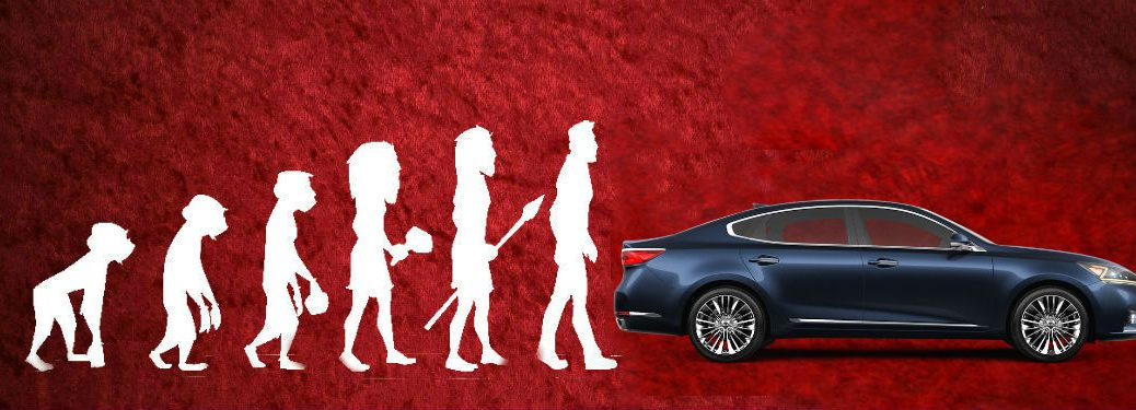 Theory of Man evolution image with 2019 Kia Cadenza