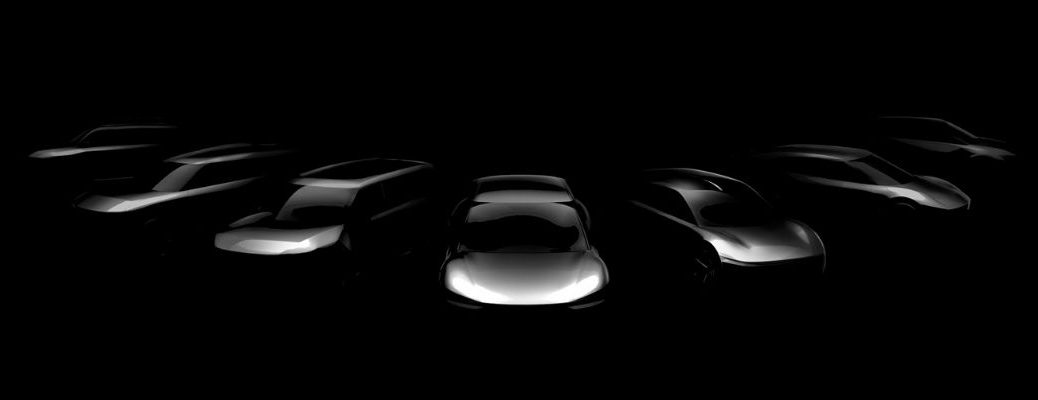 Black and grey promotional photo of upcoming Kia Motors EV lineup