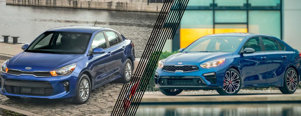 Blue 2020 Kia Rio and Blue 2021 Kia Forte