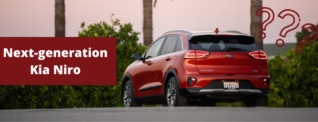 "Rear view of red 2020 Kia Niro with ""Next-generation Kia Niro"" white text and red question marks"