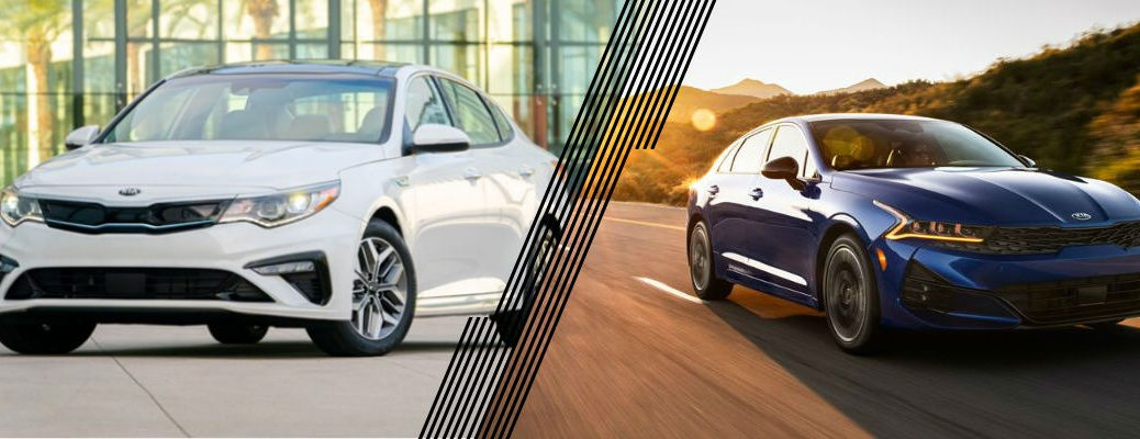 White 2020 Kia Optima and blue 2021 Kia K5