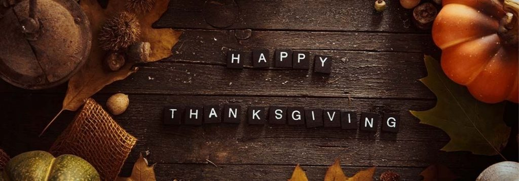 """Happy Thanksgiving"" spelled out in Scrabble letters"
