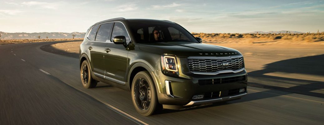 Green 2021 Kia Telluride driving