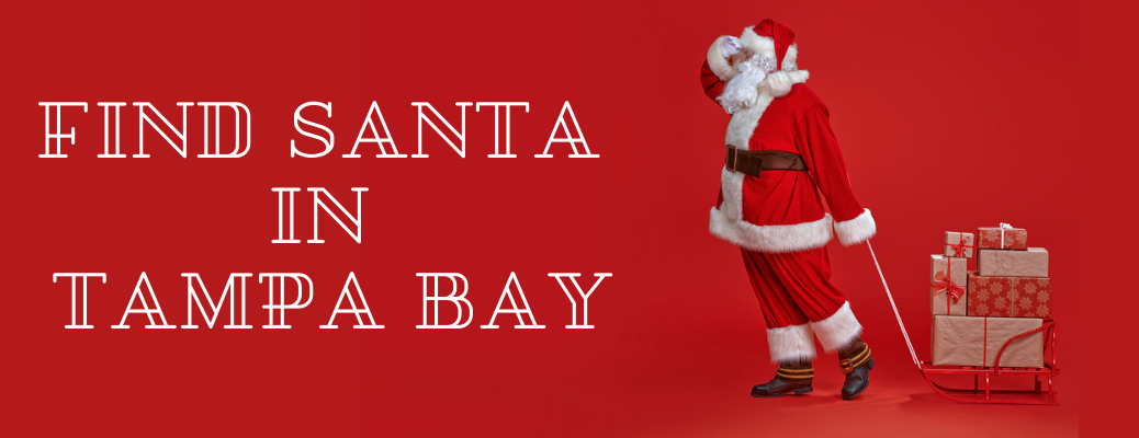 """Santa with present wagon and """"Find Santa in Tampa Bay"""" white text"""