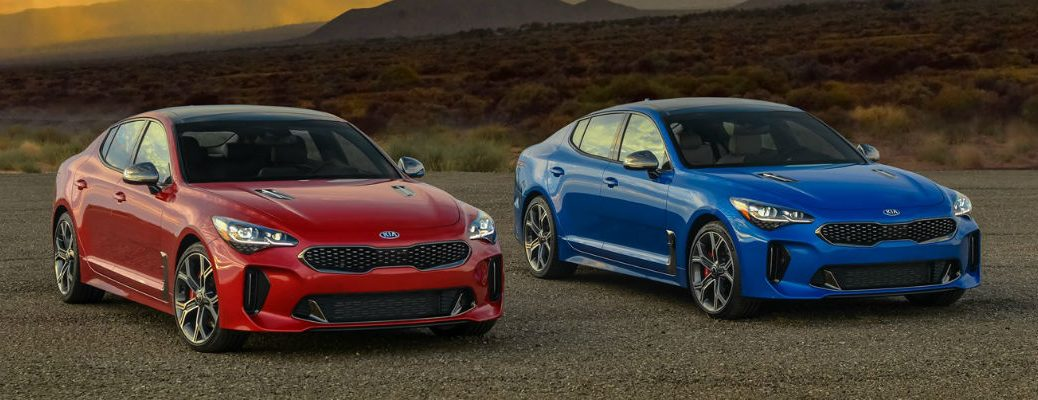 Blue and red 2021 Kia Stinger models