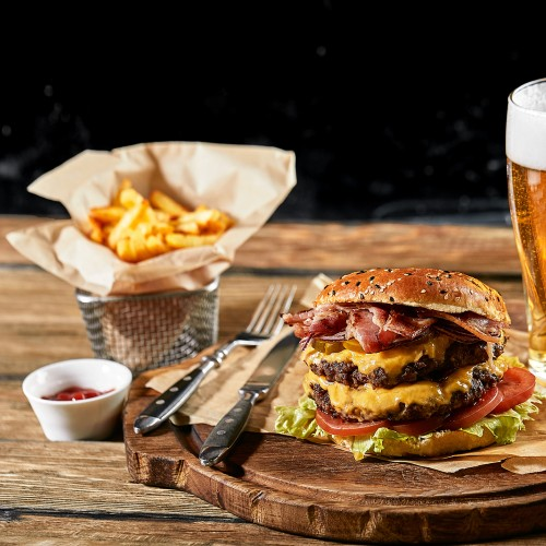 Burger, beer, and fries