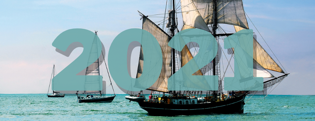 Pirate ship with blue 2021 numbers