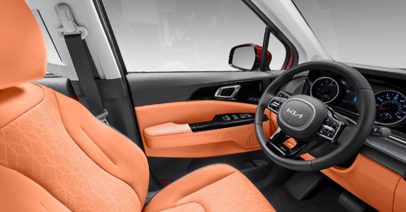 Off-Black and Tuscan Umber Two-Tone SynTex in 2022 Kia Carnival