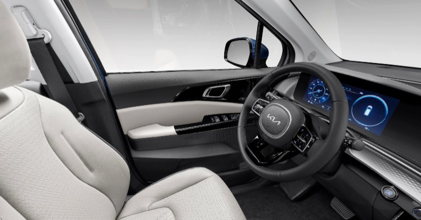 Off-Black and Gray Two-Tone Leather in 2022 Kia Carnival