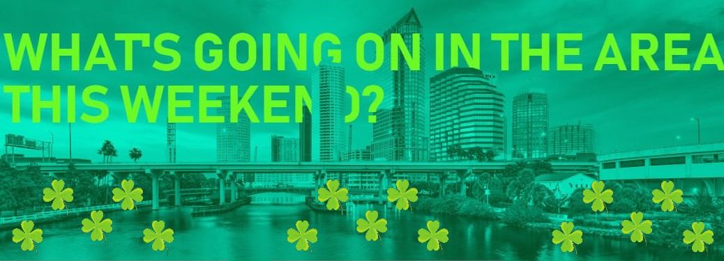 "Skyline with ""What's Going on in the Area This Weekend?"" green text and four leaf clovers"