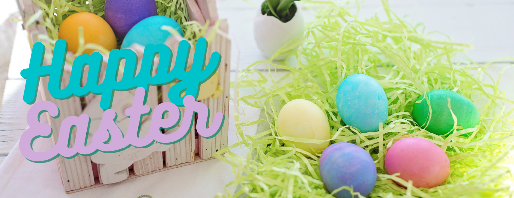 "Colorful Easter eggs in basket with blue and purple ""Happy Easter"" text"