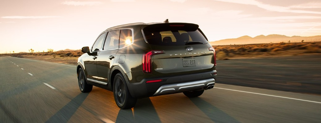 Rear view of green 2021 Kia Telluride