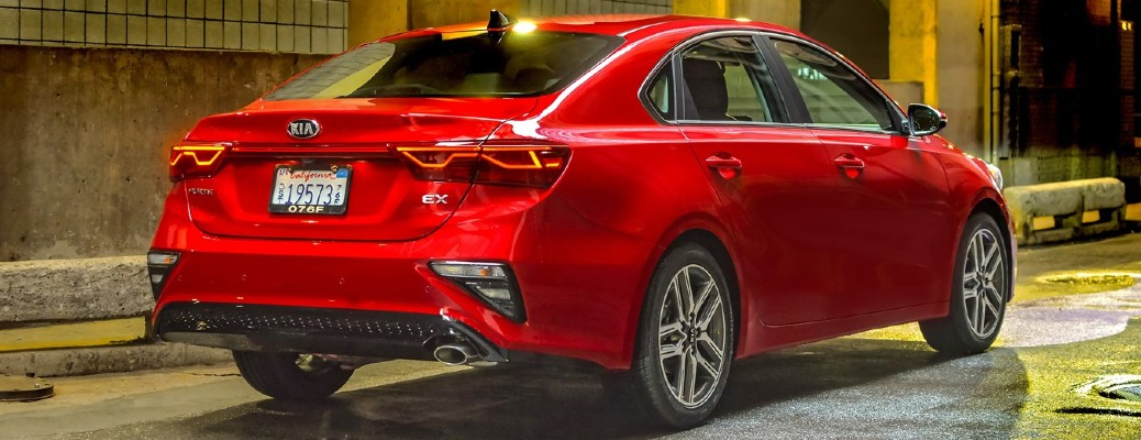 Rear view of red 2021 Kia Forte
