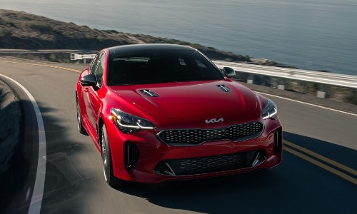 Front view of red 2022 Kia Stinger