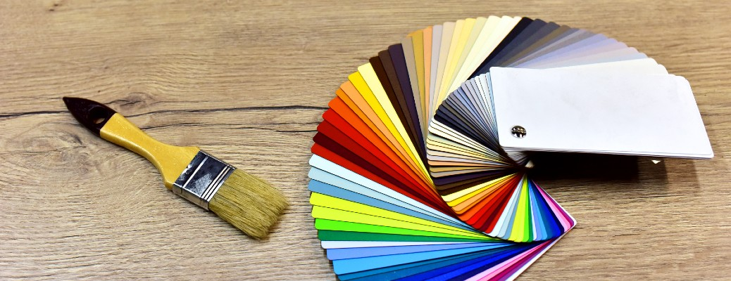 Paint strip swatches and paint brush