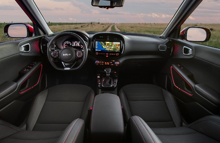 2022 Kia Soul front seats and dashboard