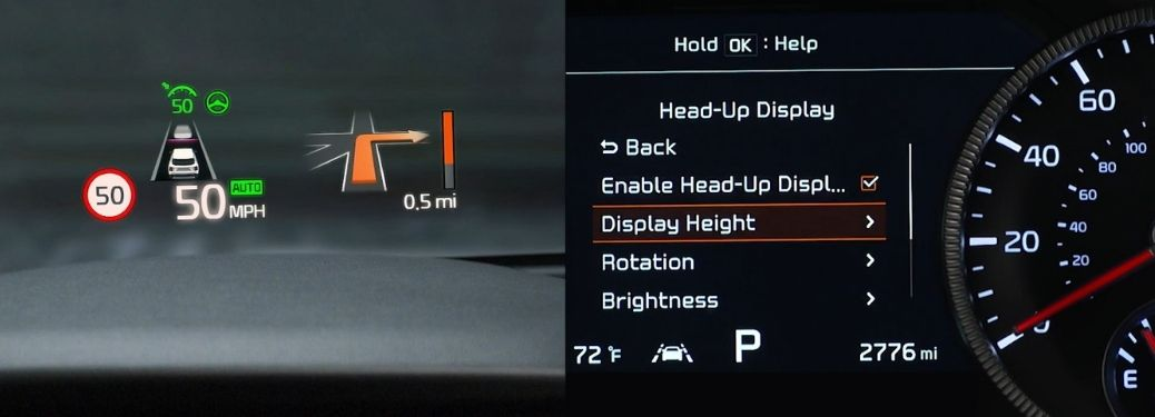 Kia Head-Up Display shown on left and its configuration on the instrument cluster shown on the right