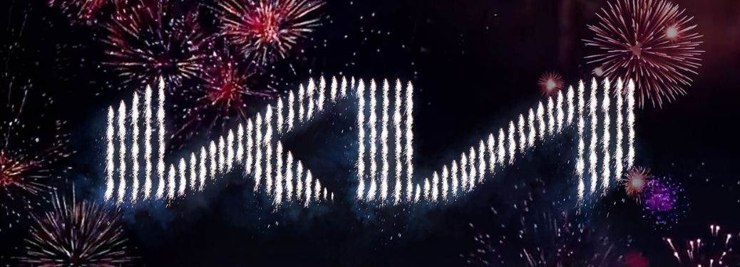 Kia logo written with and surrounded by fireworks