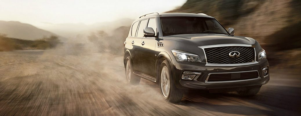black infiniti qx80 on dirt
