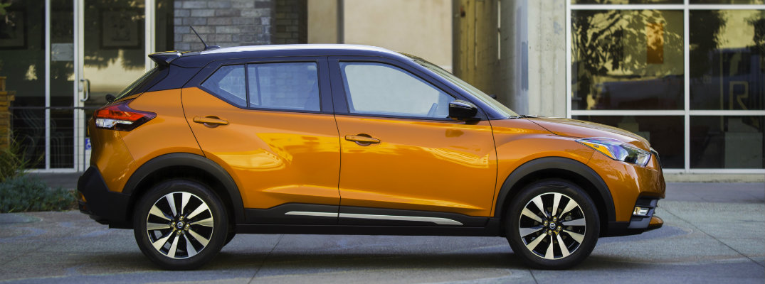 2018 Nissan Kicks in front of a building