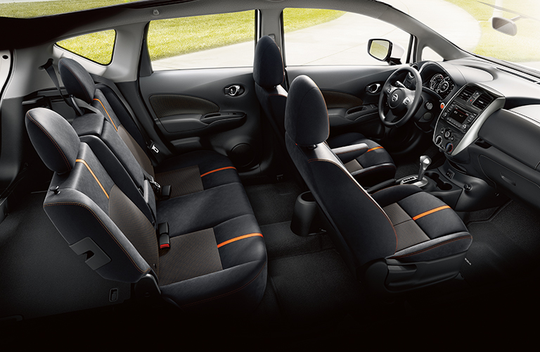 Interior view of the two rows of black cloth seating inside a 2019 Nissan Versa Note