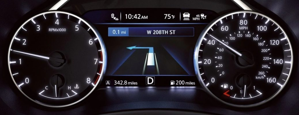 Closeup view of the Advanced Drive-Assist Display available on a 2019 Nissan Murano