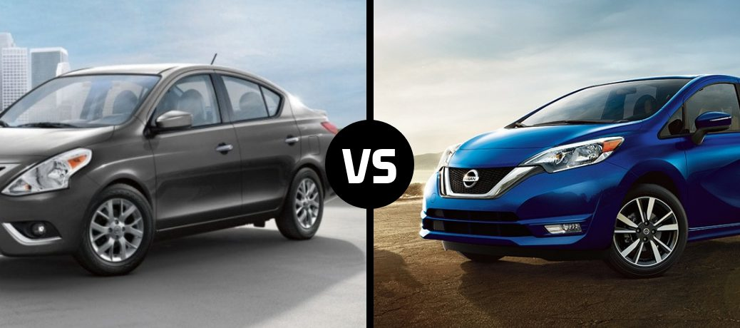 Comparison image of a grey 2019 Nissan Versa and a blue 2019 Nissan Versa Note