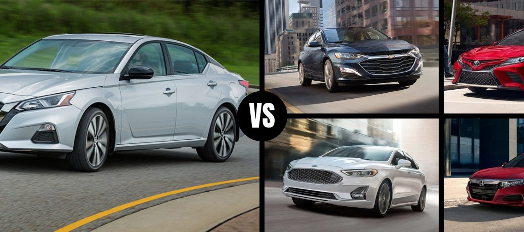 Comparison image of a white 2019 Nissan Altima against four of its main competitors